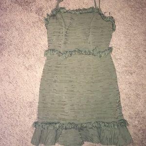 Olive green fringey dress
